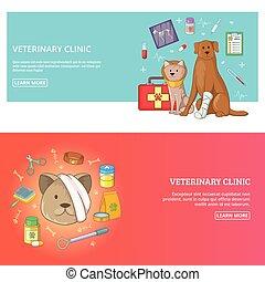 concept, ensemble, vétérinaire, illustration, clinique, vecteur, horizontal, bannière