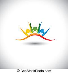 concept, ensemble, vecteur, icône, amis, heureux