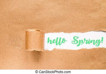 concept., envelope., primavera, olá, inscrição, rasgado