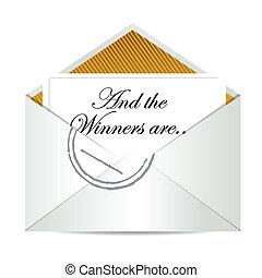 concept, enveloppe, winnaars, toewijzen