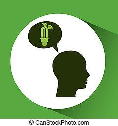 concept environment bulb plant silhouette head