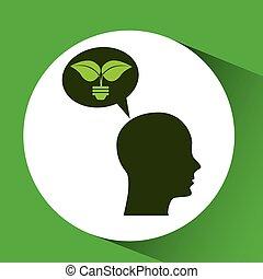 concept environment silhouette head bulb plant