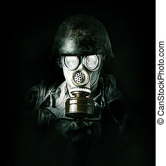 environmental protection. Man in gas mask - Concept....