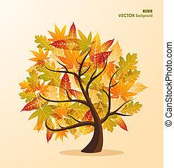 concept, eps10, saison, feuilles, arbre, arrière-plan., fichier, automne