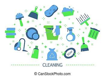 concept., equipamento, limpeza, doméstico, cobrança, serviço