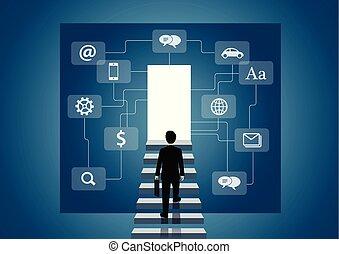 concept., escada, degrau, progresso, passo, alto, finanças, door., passeio, vida, vetorial, sucesso, icon., organization., negócio, homens negócios, meta, job., cima, ilustração