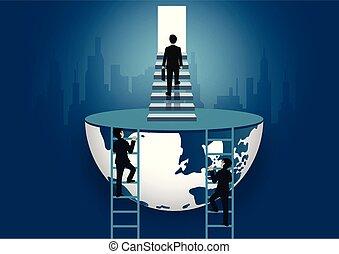 concept., escada, degrau, progresso, passo, alto, finanças, door., passeio, vida, vetorial, sucesso, icon., organization., negócio, homens negócios, meta, mundo, job., cima, ilustração