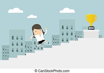concept, escalier, business, femme affaires, haut, courant, femme, gagner, price.