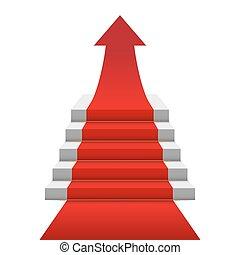 concept, escalier, flèche rouge, moquette