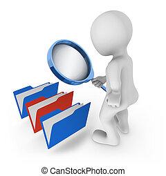 concept., escolha, vidro, folders., olha, homem, magnificar, 3d
