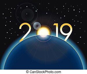 concept, espace, -, nouveau, 2019, année, la terre