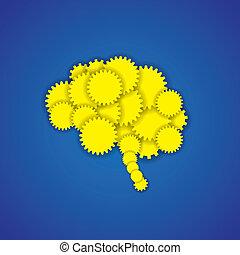 concept, esprit, créatif, cerveau, vecteur, engrenages, ou, icône