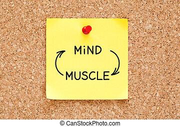 concept, esprit, note collante, connexion, muscle