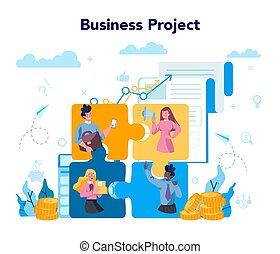 concept., estrategia de la corporación mercantil, proyecto, idea, logro