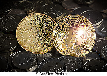 concept, euro, bitcoin, crypto, échange