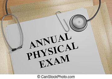 concept, examen, medisch, jaarlijks, -, lichamelijk