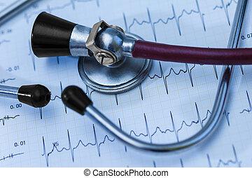 concept, examen, trace, cardiogramme, monde médical, pouls, stéthoscope, cardio-vasculaire