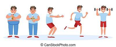 concept., excesso de peso, gorda, magra, bandeira, homem