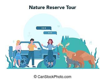 concept., excursão, turistas, guia, férias, escutar, história