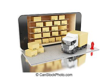 concept., expédition, boxes., 3d, smartphone, carton, livraison
