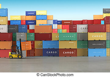 concept., expédition, cargaison, entrepôt, fond, secteur, stockage, ou, livraison, récipients, forklifts.
