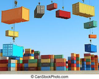 concept., expédition, cargaison, fond, secteur, stockage, ou, livraison, récipients, forklifts.