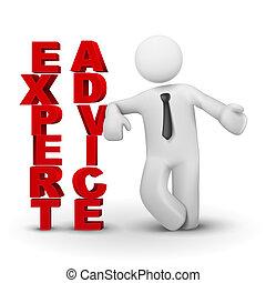 concept, expert, business, présentation, advicet, homme, 3d