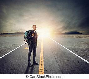 concept, explorateur, avenir, rue., innovation, homme affaires, aimer