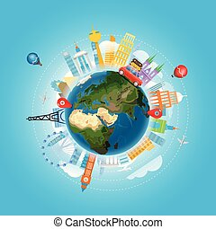 concept., férias, ilustração, vetorial, viajar, viagem