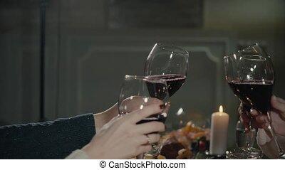 concept, fête, tintement, voyage, lunettes, vacances, célébration, sophistiqué, dîner, anniversaire, vin, fête, grillage, vacances, amis, avoir, heureux