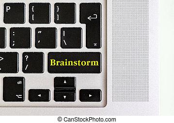 """concept, f, texte, sommet, isolé, jaune, bouton, conception, """"brainstorm"""", clavier, ordinateur portable, vue"""