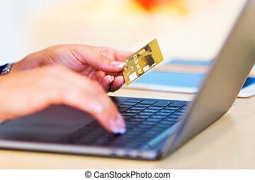concept, faire courses ligne, e-affaires, paiements, internet