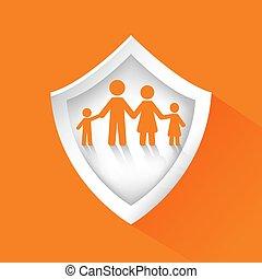 concept., família, segurança, escudo