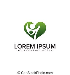 concept, famille, conception, gabarit, logo, vert