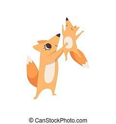 concept, famille, elle, renard, animaux, illustration, parenting, bras, vecteur, tenue, mère, bébé, aimer, heureux