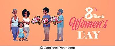 concept, famille, génération, donner, américain, international, heureux, entiers, mars, hommes, féliciter, caractères, 8, horizontal, fleurs, jour, carte, femmes, multi, salutation, longueur, africaine