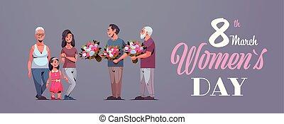 concept, famille, génération, femme, donner, international, heureux, entiers, mars, hommes, féliciter, caractères, 8, horizontal, fleurs, jour, carte, femmes, multi, salutation, longueur, mâle