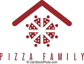 concept, famille, gens, résumé, toit, vecteur, pizza