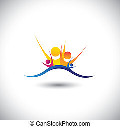 concept, famille, joyeux, -, ensemble, vecteur, membres, ...