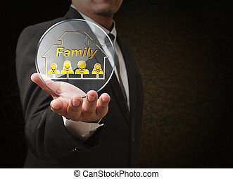 concept, famille, main, icône, 3d, pixel, spectacles