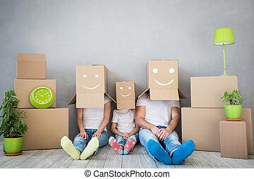 concept, famille, maison, maison mobile, nouveau jour