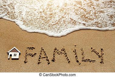 concept, famille, maison, -, sable, propriété, plage, investissement