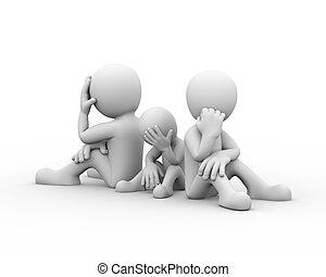 concept, famille, problèmes, frustration, 3d, conflit