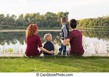 concept, famille, séance, grand, nature, -, paternité, enfants, herbe