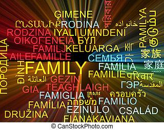 concept, famille, wordcloud, incandescent, multilanguage, fond