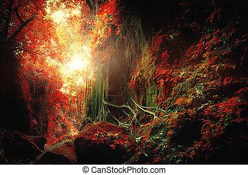concept, fantasme, forêt, exotique, surréaliste, jungle, paysage, colors.