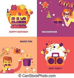 concept, feestje, vastgesteld ontwerp