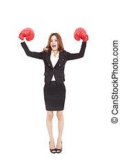 concept, femme affaires, cadre, fort, patron