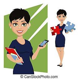 concept, femme, affaires modernes