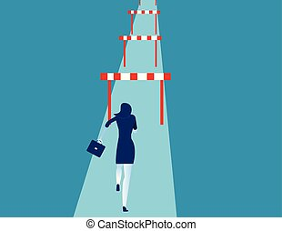 concept, femme affaires, reussite, hurdler., vecteur, illustration., business